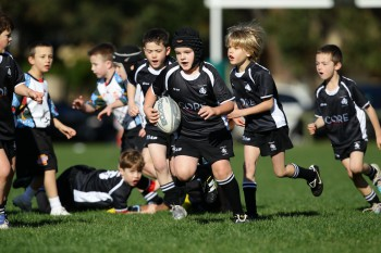 Young kids play rugby at Nagle Park on June 18, 2011 in Sydney, Australia.