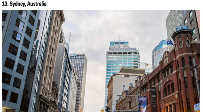 オーストラリア ライフスタイル&ビジネス研究所:海外移住の経験者が教える、仕事が見つけやすい27の世界の都市(シドニー)