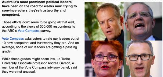 オーストラリア ライフスタイル&ビジネス研究所:5月18日の総選挙へ向け、党首評価が対立