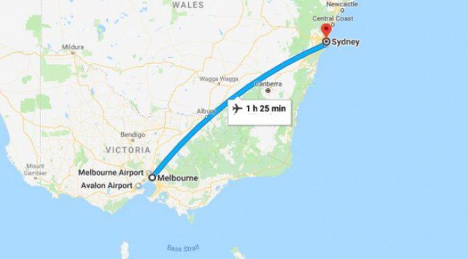 オーストラリア ライフスタイル&ビジネス研究所:シドニー―メルボルン航路運賃、(2020年)7月大幅値引き