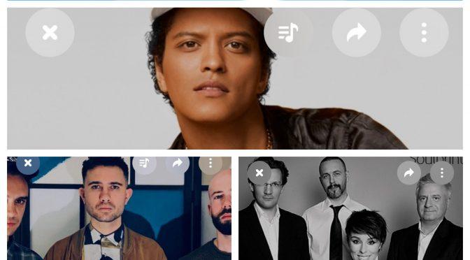 街中で音楽認識アプリSHAZAMを稼働させ、Bruno Mars, Softer Still & Kozma Orsi Quartet のデータにアクセス、曲を改めて楽しめた♪(SHAZAM #29)