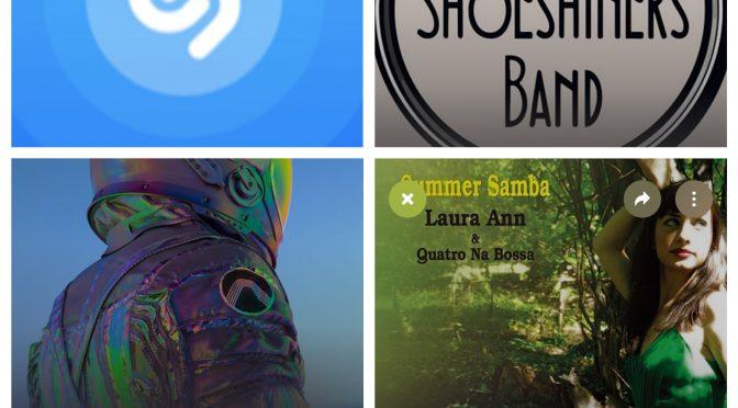 街中で音楽認識アプリSHAZAMを稼働させ、THE SHOESHINERS BAND, Electro Deluxe, Laura Ann & Quatro Na Bossaのデータにアクセス、曲を改めて楽しめた♪(SHAZAM #32)