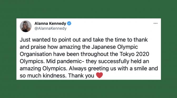 オーストラリア ライフスタイル&ビジネス研究所:アラナ・ケネディ選手、東京オリンピック 日本流おもてなしに寄せた謝意