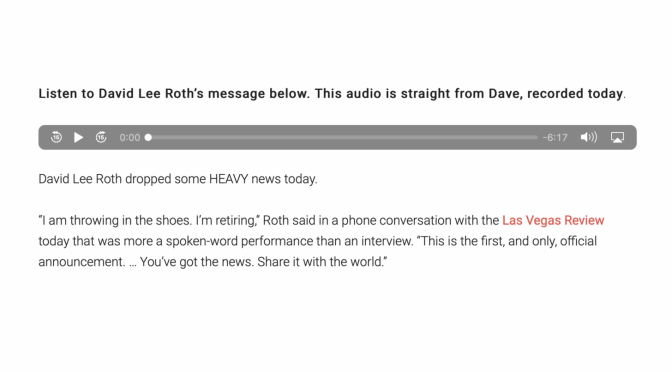 今週(2021/9/27〜10/3)ちょっとしんみりさせられたこと:David Lee Roth、I'm Retiring:音楽活動からの引退宣言